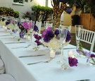 Purple, pink, and white bridal shower table