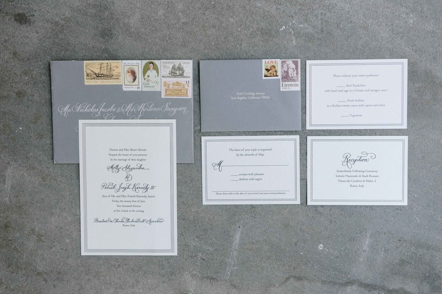 Molly & Patrick's destination wedding invitation suite was designed by Laura Hooper Calligraphy.