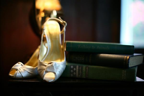 peep toe slingback heels for the bride