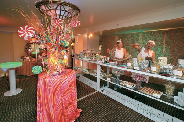 Psychedelic and retro candy store replica