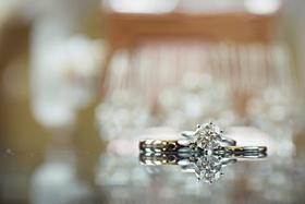 Round-cut diamond ring and matching wedding band