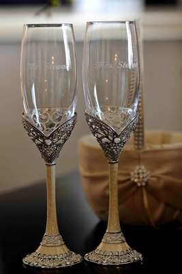 Antique champagne flutes for bride and groom