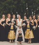 Flower girls and bridesmaids in wedding attire