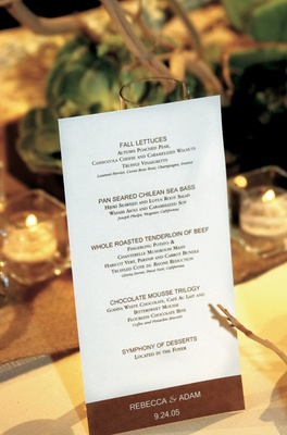 Simple and natural menu card with name and date