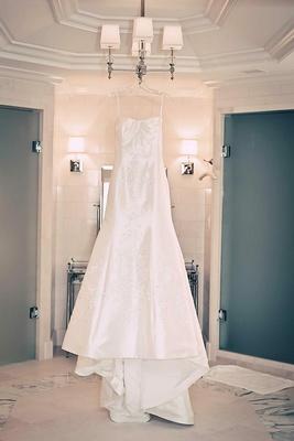 Junko Yoshioka dress on hanger in bridal suite