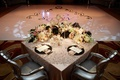 Bride and groom table with view of dance floor