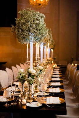 Snow-inspired centerpieces and candelabra