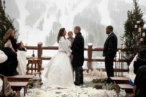 Snowy Outdoor Winter Ceremony Amp Cozy Lodge Reception
