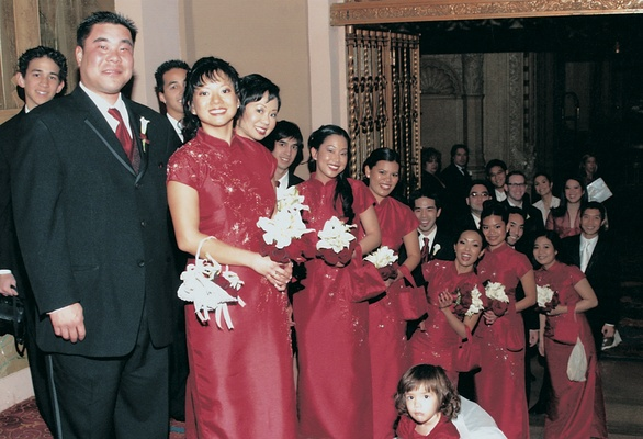 Filipino bridesmaid gowns in red with matching baskets