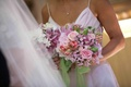 Bridesmaid's bouquet of pink and lavender flowers
