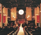Interior of Presbyterian church wedding