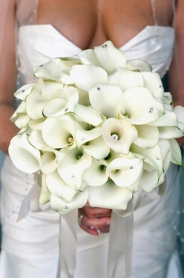 All-white calla lily flowers with rhinestone studs