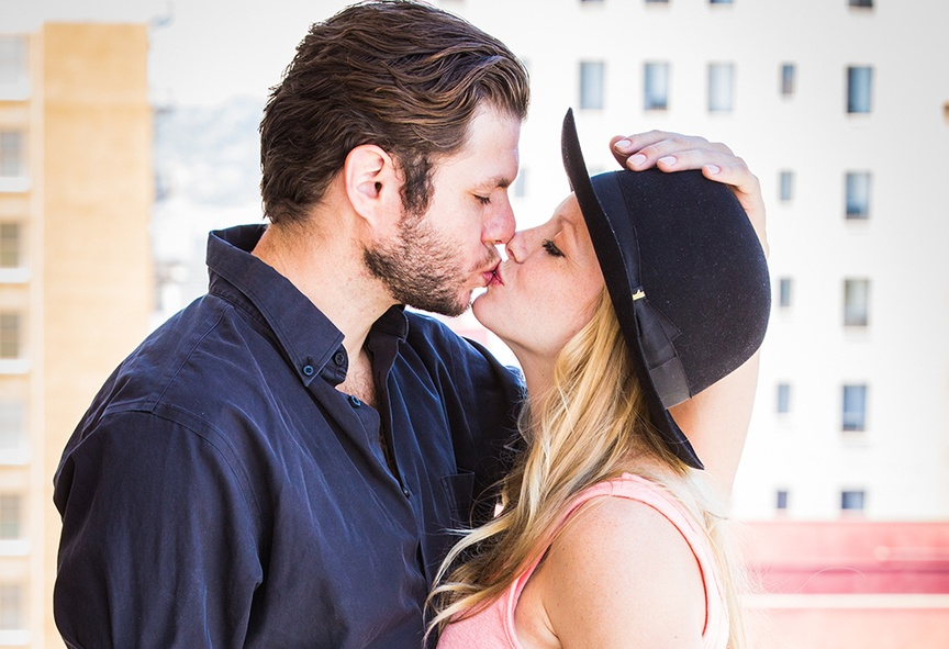 This fashionable couple had a city-style engagement shoot with unique accessories that complemented