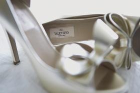 White metallic peep-toe heels by Valentino