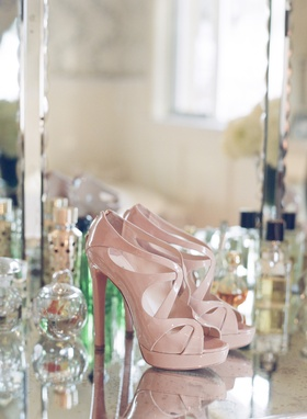Patent leather light pink strappy heels for wedding