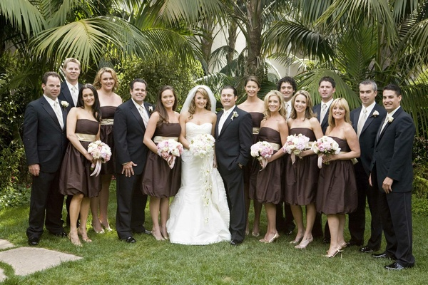 Spring wedding party bridesmaids and groomsmen