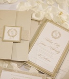 Jason McCourty, Tennessee Titan, gold and white wedding invitation