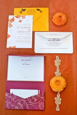 Wedding invitation suite in bright yellow and magenta