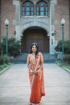 South Asian bride in Bangladesh lehenga and sari