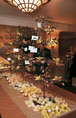 Seating cards on table with iron trees