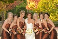 Autumn-inspired bridal party and Ines Di Santo dress