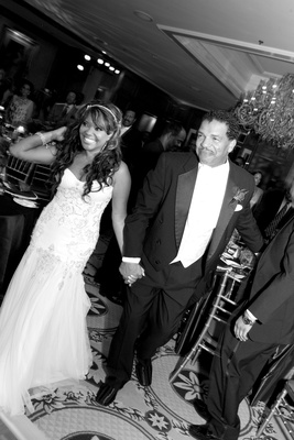 Black and white photo of Sherry Jackson Gordy and groom