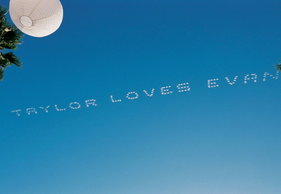 love message written on blue sky