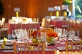 Colorful wedding reception table and centerpieces