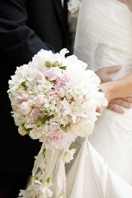 Stephanotis, gardenia, and peony wedding bouquet
