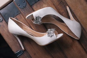 Badgley Mischka pumps with leaf crystal