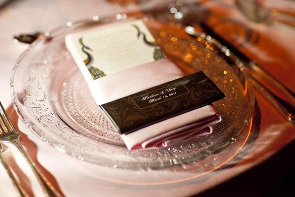 Wedding favor of personalized chocolate bar