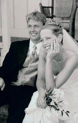 Couple smiles on their wedding day