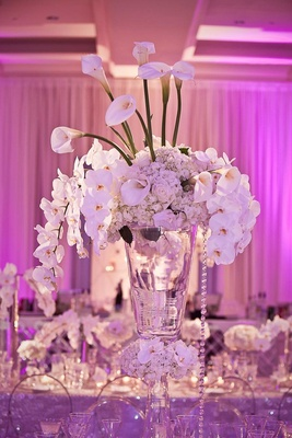 Purple-pink lighting and white floral arrangement