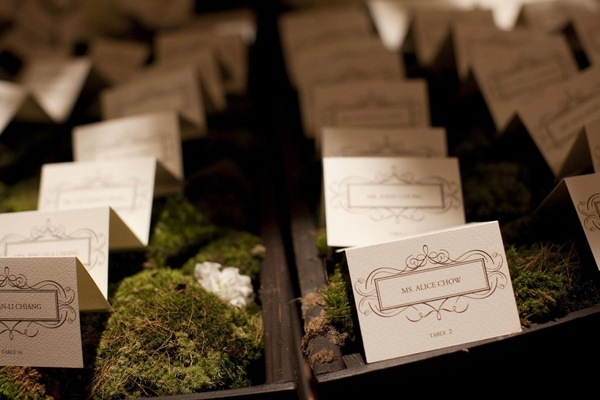 Wood box and moss seating card display
