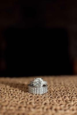 Princess-cut diamonds cover platinum band