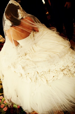 Wedding dress with big skirt and veil