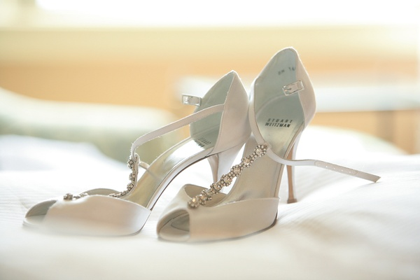 Bride's Stuart Weitzman t-strap peep toe heels