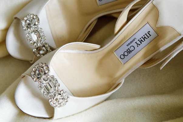 White Jimmy Choo heels with sparkles on toe
