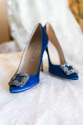 Something blue Manolo Blahnik wedding shoes