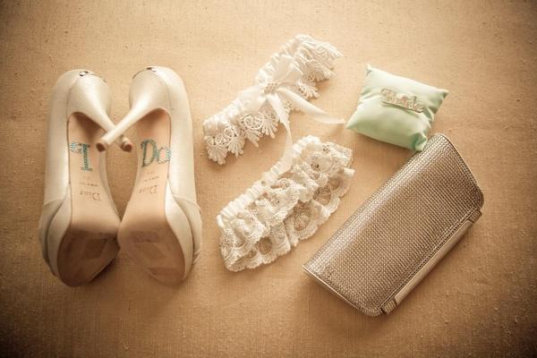 "Rhinestone ""I Do"" shoe appliqués and garters"