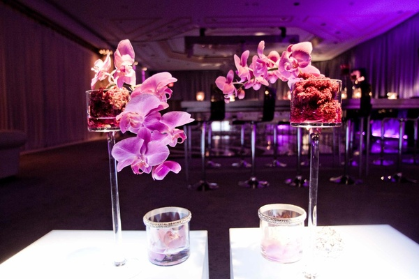 Small bar after-party flower arrangement with purple orchid