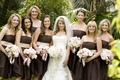 Short brown strapless bridesmaid dresses