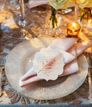 Sequin embroidered linens and pearl chargers
