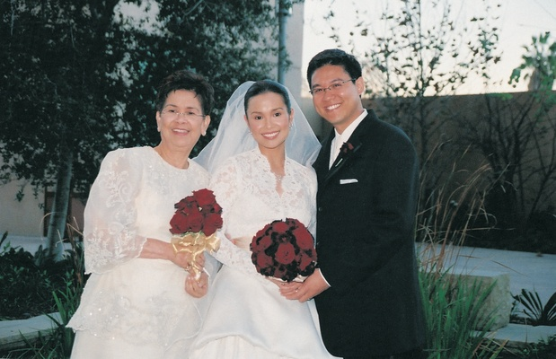 Lea Salonga and her mom carry red nosegays
