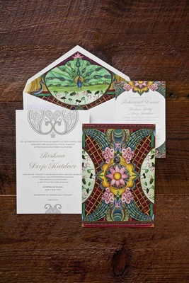 Wedding invitation suite with peacock and cherry blossom theme by Ceci New York
