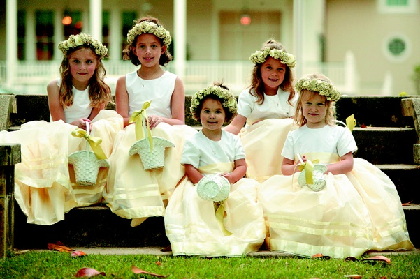 Pale yellow flower girl crown and attire