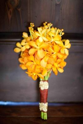 Bridesmaids's bouquet of golden flowers