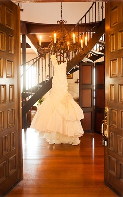 Ines Di Santo wedding dress on hanger