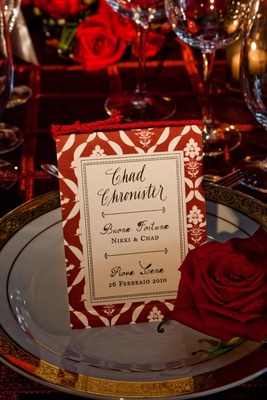 Free standing wedding menu card with red rope