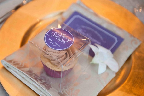 Love is Sweet label on clear favor box with cupcake inside